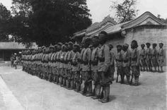 Full view of Sikh infantry of the China Relief Expedition in formation following the Boxer Rebellion, 1898-1900.