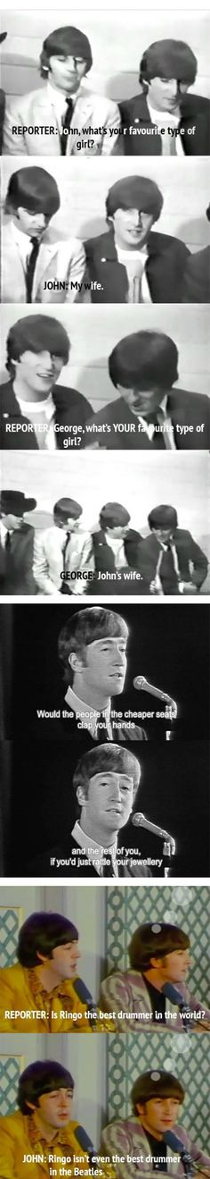 funny moments, laugh, beatles quotes funny, funny captions, the beatles funny, funni, music bands, chuckl, art music