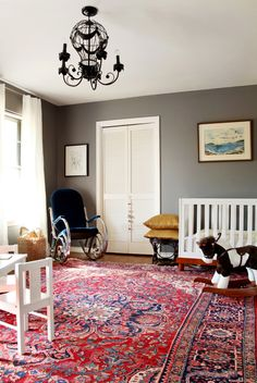 I am loving this red Persian rug with Pratt and Lambert's Wolf paint, then mixed with the white, dark blue, and mustard yellow.