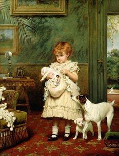 "Charles Burton Barber, ""Girl with Dogs"""