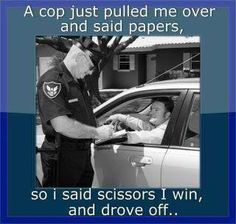 Rock Paper Scissors? real life, funny humor, epic win, cop, funni, rock, cut paper, quot, scissor