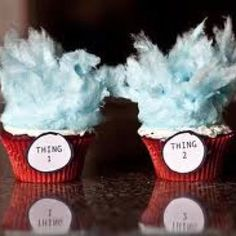 Cupcakes for dr suess party with cotton candy!