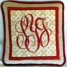 Needlepoint Monogrammed Pillow