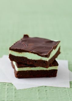 Grasshopper Brownie Bars with creme de menthe buttercream and chocolate ganache glaze