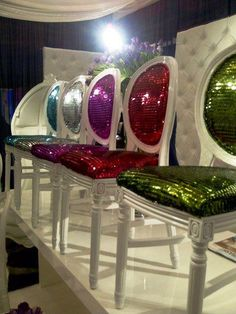 These Colorful Sequin Chairs would be so fabulous for the perfect glitzy event!  Love!