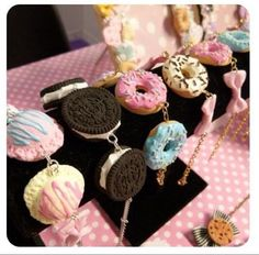kawaii,  sweets for your wrist. Lol. Cookies and pastry, and ice cream bracelets. (✿◠‿◠)