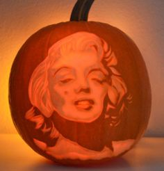 http://www.vegetablefruitcarving.com/pumpkin-carving-portraits-course  Marilyn Monroe pumpkin portrait by Nita Gill. Learn how to carve pumpkin and watermelon portraits. It's easier than you may think, once you are shown how, step-by-step.