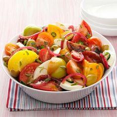 Olive Caprese Salad! #tomatoes #olives #mozzarella #summer #fresh