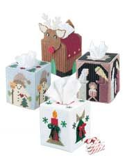 Festive Tissue Covers Plastic Canvas Pattern Download from Anniescatalog.com -- Four adorable tissue covers are all stitched on 7-count plastic canvas with Needloft plastic canvas yarn. Each fit a boutique-style tissue box.