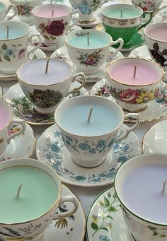 i LOVE the idea of candles in pretty china but mine is too nice to experiment with this! Maybe thrift shop finds would be better...?