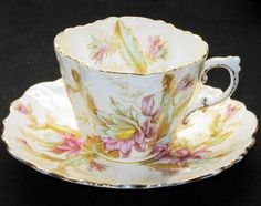 Aynsley England Antique Blossom Mauve Texture TEA CUP AND Saucer