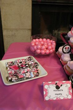 Minnie Mouse Birthday Party candy!  See more party planning ideas at CatchMyParty.com!