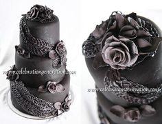 fancy black wedding cake black wedding cake, black weddings, dream, gothic wedding, gothic cake, wedding cakes, goth wedding, rose cake, gothic dessert
