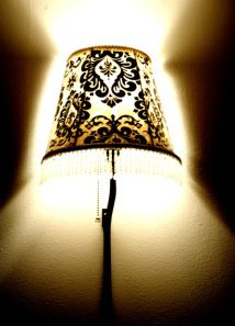Decorate a boring lampshade with fabric and Mod Podge!