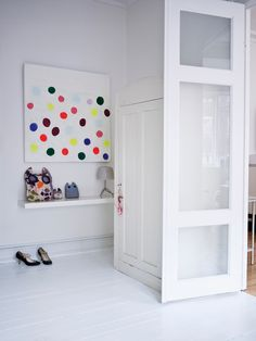 white + bright art wall art, the doors, polka dots, colors, mud rooms, white, entrance, entryway, spot