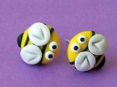 bee stud earrings polymer clay fimo handmade