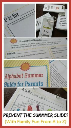 Help parents plan fun summer activities that also prevent the summer slide. This packet includes several options to send home at the end of the year.