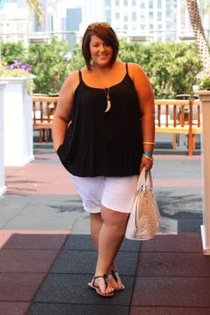A simple black tank and easy shorts ... Jessica Kane does causal right! Life & Style of Jessica Kane { a body acceptance and plus size fashion blog } @Jess Pearl Liu Kane SKORCH MAG