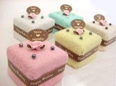 Towel Cake diaper cake, wedding favors, squares, towel cakes, idea weddingfavor, wedding ideas, cake squar, unique weddings, bridal favors