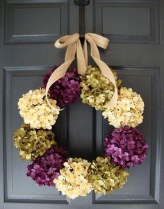 Hydrangea Wreath - Summer Wreath - Mothers Day Wreath - Spring Wreath - Wreath for Door - Includes Complementary Wreath Hanger on Etsy, $98.00