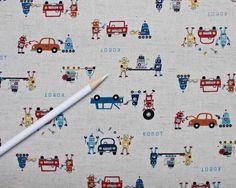 Robot - Trefle- canvas from Kokka Fabrics - 1 Yard. $16.00, via Etsy.