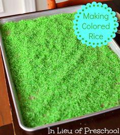 Colored and scented rice SUPPLIES: ZIploc baggies, 2 cups of rice, 1 packet of Kool-Aid drink mix, and 1 teaspoon of rubbing alcohol.