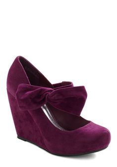Rules of the Bowed Wedge in Plum, #ModCloth @Noelle Stoops
