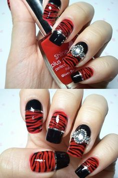 red & black animal print nail art - If you like these nails follow my board 'nails adorned'