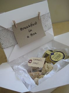 Breakfast In A Box ~ great wedding favor for guests, gift for workmates, your significant other, teacher appreciation,  get well package (in lieu of flowers),  dinner or cocktail party favor to take home, gift for your babysitter, mailman, pool guy, doctor, UPS driver, neighbor, dry cleaner, gardener, accountant, etc....