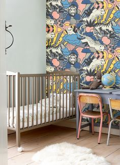 wall colors, wall murals, girl nurseries, kid rooms, wallpapers, vintage modern, anna ekr, accent walls, babies rooms