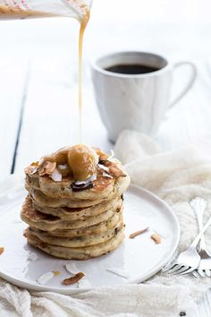 Pancakes that taste like banana bread - made without dairy - just coconut oil and coconut milk!