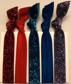 Glitz Holiday Red,Teal,Charcoal Hair Ties - Sassy Knots | Hair Ties and Headbands