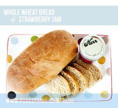 whole wheat bread & strawberry jam