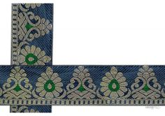 60 mm Indian Saree Borders - Jacquard lace # 000104  Droplet-shaped vegetable design and floral designed Jacquard saree border for lehanga, salwar kameez, saree Design.   This design is made by use of modern color i.e violet, green, Gold. Such saree border designs are trending choice of Fashion Enthusiasts.  Visit www.lacxo.com more then 250 variety of laces, tapes, trims, ribbons, webbing and such fashion accessories. You can even mail us at info@lacxo.com.