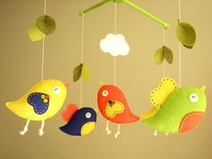 Baby crib mobile Bird mobile girl mobile Bird  by Feltnjoy on Etsy, $90.00