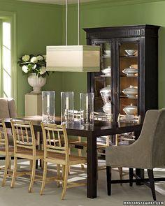 Nice green dining room