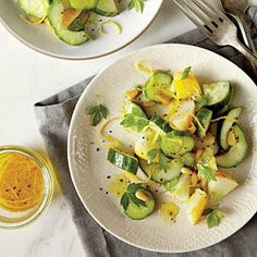 Cucumber and Herb Salad with Pine Nuts Recipe | Cooking Light #myplate #veggies