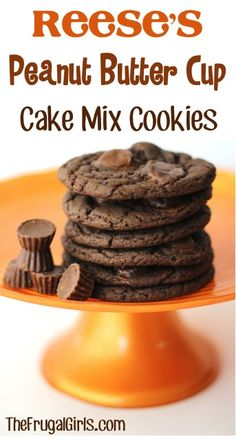 Reese's Peanut Butter Cup Cake Mix Cookies Recipe! ~ from TheFrugalGirls.com ~ these cookies are so simple to make and ridiculously delicious!! #cookie #recipes