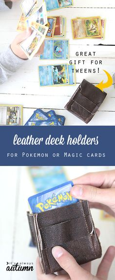 my boys would love this! make a DIY leather deck holder for Pokemon or Magic cards - great gift to sew for tweens!