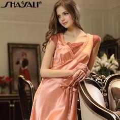 Shaya Lee new home service female summer Pajamas 100% silk v-neck silk sexy nightdress