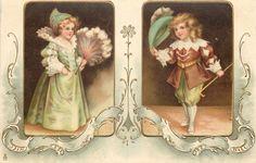 vintag 62, ja poisid, nostalgi postcard, postcard nr, tüdrukud ja, vintag ephemera, väikes tüdrukud, illustri illustr