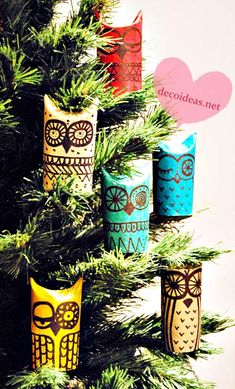 Owl ornaments made from toilet paper rolls