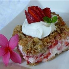 """Frosty Strawberry Squares 