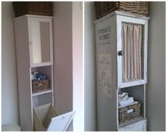 just paint it white: from cheap to shabby chic bath cabinet redo