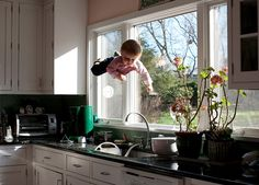 The Flying Baby Series, Mother Photographs Her Baby Boy Flying