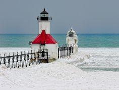 """Red White & Blue"" St. Joseph Northpier Lighthouse, St. Joseph, Michigan by Michigan Nut, via Flickr"