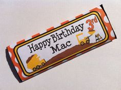 Construction Truck - Buy 2 Get 1 FREE - Candy Bar Wrapper - DIY PRINTABLE Filr Personalized Party Decorations. $5.00, via Etsy.