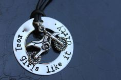 Motocross or Dirt Bike Hand Stamped Necklace