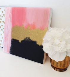 Original Acrylic Abstract Painting, Pink Gold Black 12x12
