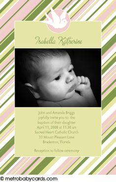 Photo Baptism/Christening Invitations :: Sweet Stripes Pink Design